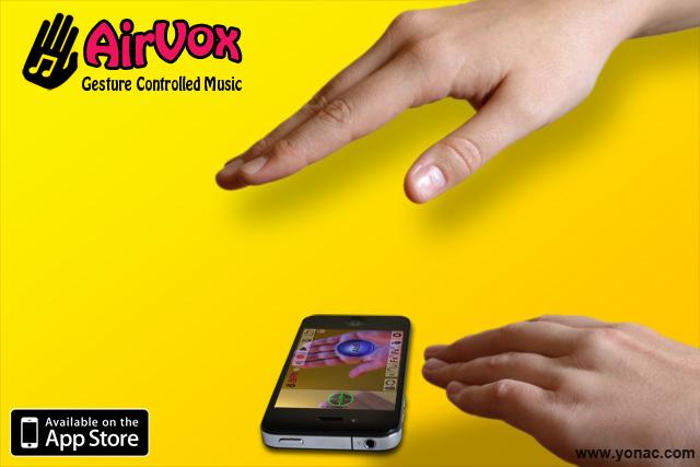 Auf einem gelben Hintergrund steht oben links in der Ecke Airvox Gesture Controlled Musik und eine schwarze, stilisierte Hand mit einer Note in der Handfläche. Zwei echte Hände bedienen ein in der Mitte liegendes Smartphone, das die Hände dabei filmt und auf seinem Display zeigt.