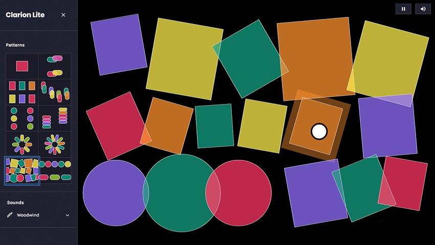 Eine dunkelgraue Bildschirmoberfläche zeigt viele bunte, ausgefüllte geometrische Formen. Auf einer Leiste links neben den Formen kann man verschiedene Muster, Formen und Musik einstellen.