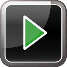 Das Bild zeigt einen abgerundetes, schwarzes Rechteck, das in der Mitte ein grünes Play-Symbol, also ein auf der Seite liegendes Dreieck, hat.