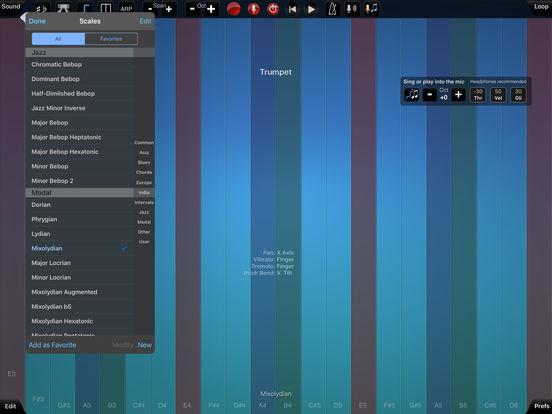 Ein Computerbildschirm zeigt von links nach rechts vertikale Spalten in Blau-, Grün- und Rottönen wie Klaviertasten. Jede Taste ist als Note markiert. Links ist ein Dropdown-Menü geöffnet, mit dem man unterschiedliche Effekte nutzen kann.