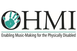 In schwarzen Großbuchstaben steht das Wort OHMI. Im O ist ein türkisgrüner Handabdruck zu sehen. Unter dem Wort ist eine türkisgrüne Linie und darunter steht in Schwarz Enabling Music-Making for the Physically Disabled.