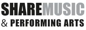 In Schwarz steht Share und danaben in Grau Music. Darunter in Schwarz and performing Arts.